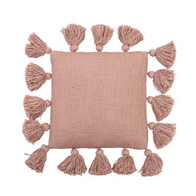 Bloomingville Cream Square Cotton Pillow With Tassels Color: Pink - Perigold