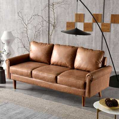 74.01'' Wide Faux Leather Rolled Arm Sofa - Wayfair