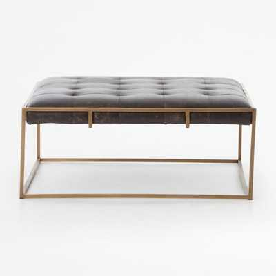 Ottilie Square Leather Coffee Table - Crate and Barrel