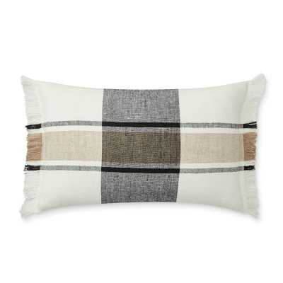 """Linen Yarn Dyed Pillow Cover, 14"""" X 22"""", Black/Beige - Williams Sonoma"""