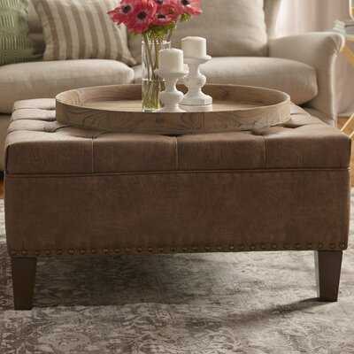 """Sigler 35.5"""" Wide Faux Leather Tufted Square Cocktail Ottoman - Wayfair"""