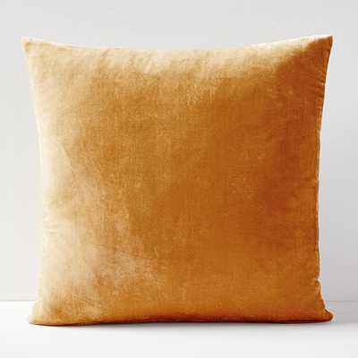 "Lush Velvet Pillow Cover, Set of 2, Golden Oak, 18""x18"" - West Elm"