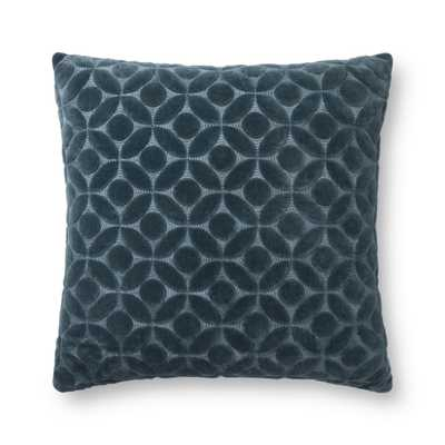 """Loloi PILLOWS P0864 Teal 22"""" x 22"""" Cover Only - Loma Threads"""
