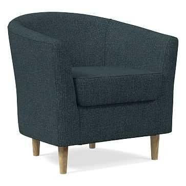 Mila Chair, Poly, Heathered Tweed, Marine, Soft Wheat - West Elm