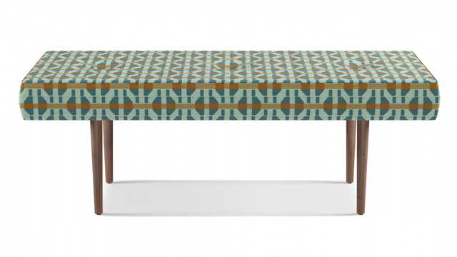 Mid-Century Bench   Teal Geo - The Inside