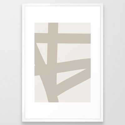 Neutral Abstract 3a Framed Art Print by The Old Art Studio - Vector White - LARGE (Gallery)-26x38 - Society6