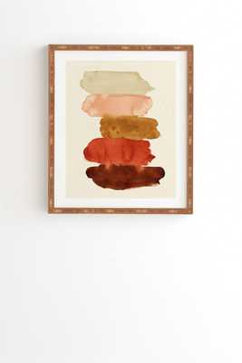"Watercolor Swatches Rust Brown by Pauline Stanley - Framed Wall Art Bamboo 8"" x 9.5"" - Wander Print Co."