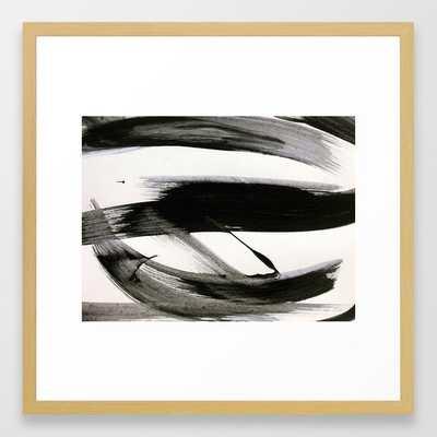 Brushstroke 9: A Bold, Minimal, Black And White Abstract Piece Framed Art Print by Alyssa Hamilton Art - Conservation Natural - MEDIUM (Gallery)-22x22 - Society6