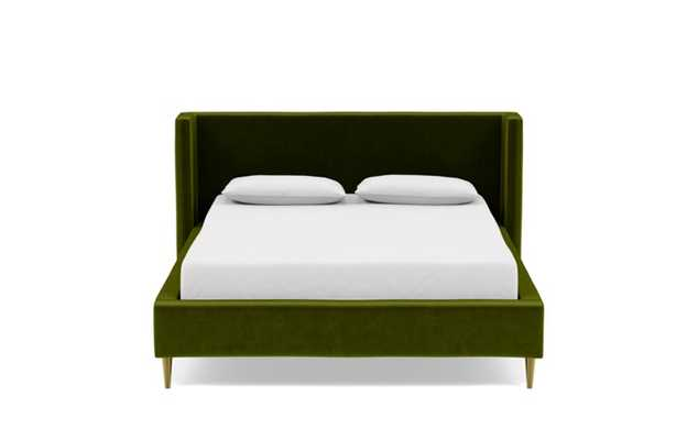 Oliver Queen Bed with Green Moss Fabric, low headboard, and Natural Oak with Antique Cap legs - Interior Define