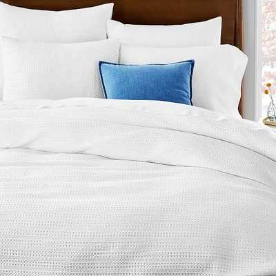 Organic Textured Waffle Duvet & King Sham, White, Cal. King - West Elm