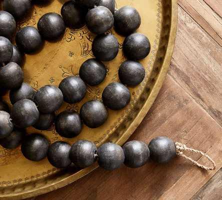 "Mango Wood Beaded Garland, Black, 120""L - Pottery Barn"