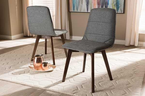 Baxton Studio Karalee Mid-Century Modern Dark Grey Fabric Upholstered Dining Chair (Set of 2) - Lark Interiors