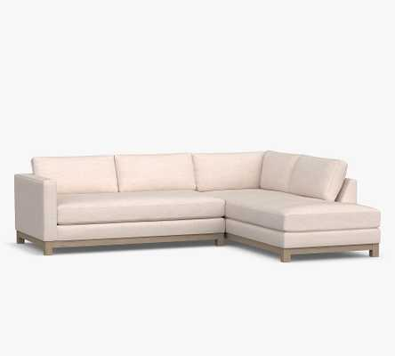 Jake Upholstered Left Sofa Return Bumper Sectional with Wood Legs, Polyester Wrapped Cushions, Performance Brushed Basketweave Chambray - Pottery Barn
