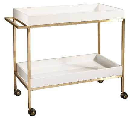 "Goldonna 36"" Bar Cart, White/Gold - Pottery Barn"