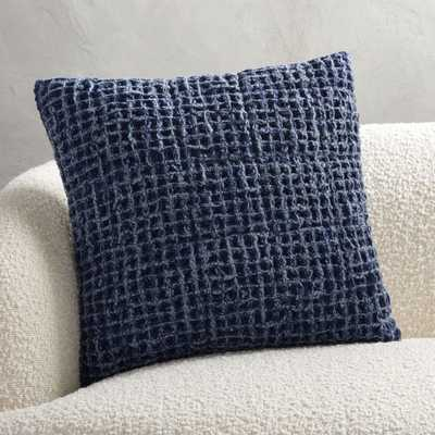 "18"" VORTEX WAFFLE WEAVE PILLOW NAVY BLUE WITH DOWN-ALTERNATIVE INSERT - CB2"