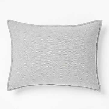 Organic Flannel Herringbone Duvet, Medium Gray, Standard Sham - West Elm