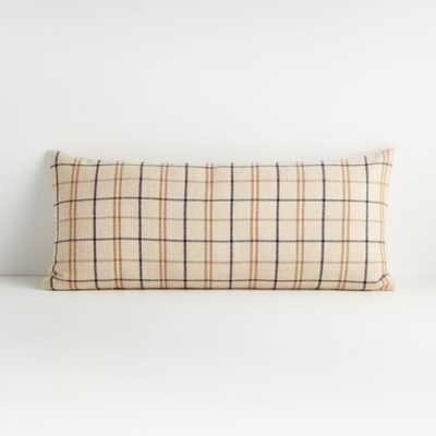 """Alpaca 36""""x16"""" Plaid Pillow with Feather-Down Insert - Crate and Barrel"""