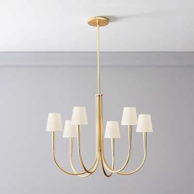 Swoop Arm Chandelier 6 Light with Shades, White, Brass - West Elm