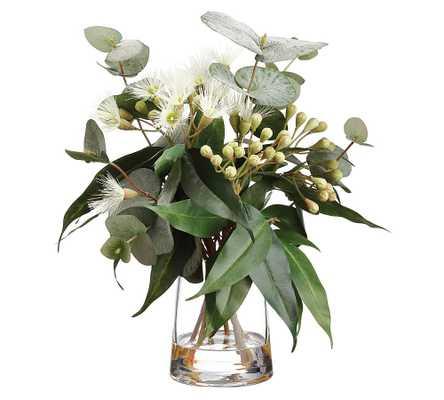 Faux Eucalyptus Arrangement In Glass Vase - Pottery Barn