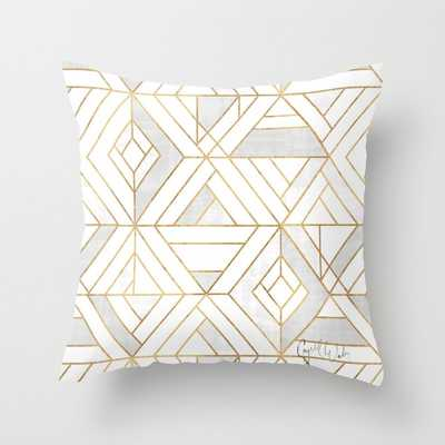 "Nola Mod Mosaic - White Gray Gold Couch Throw Pillow by Crystal W Design - Cover (24"" x 24"") with pillow insert - Indoor Pillow - Society6"