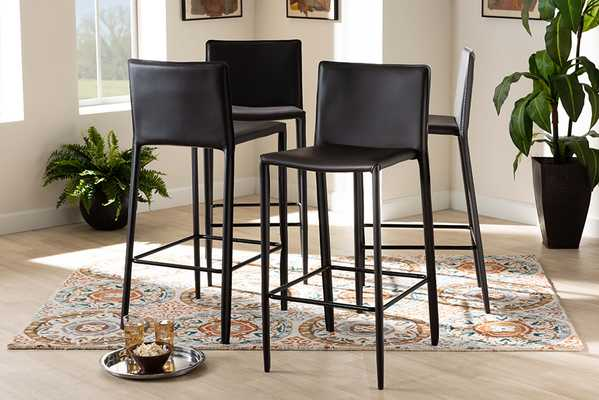 Baxton Studio Malcom Modern and Contemporary Brown Faux Leather Upholstered 4-Piece Bar Stool  - Lark Interiors