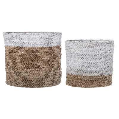 Round White & Brown Natural Seagrass Baskets (Set of 2 Sizes) - Moss & Wilder
