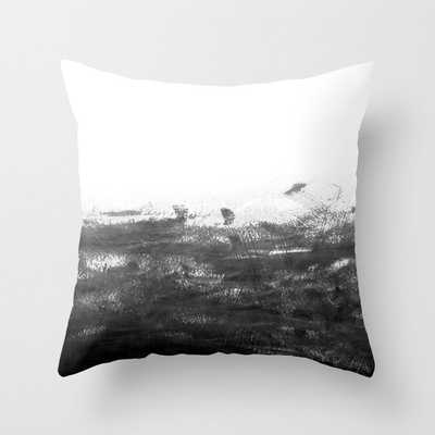 """Durand - Black And White Minimal Painting India Ink Brushstrokes Abstract Art Canvas For Home Decor Couch Throw Pillow by Charlottewinter - Cover (16"""" x 16"""") with pillow insert - Outdoor Pillow - Society6"""