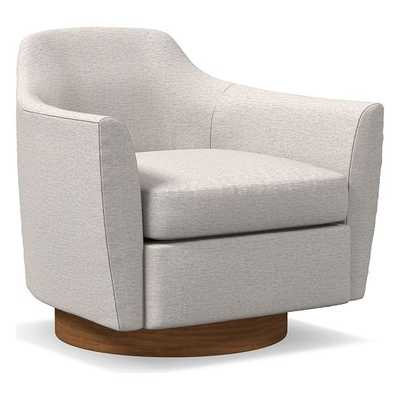 Haven Swivel Chair, Poly, Twill, Wheat, Dark Walnut - West Elm
