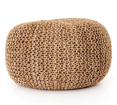 "Jute Knit Pouf, 30"" x 30"" x 16"", Tan Jute - Pottery Barn"