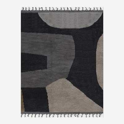 Arched Shapes Shag Rug, 9'x12', Marled Iron Gate - West Elm