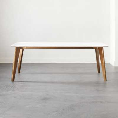 Harper Brass Dining Table with Marble Top - CB2