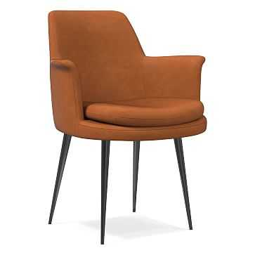 Finley Wing Dining Chair, Vegan Leather, Saddle, Gunmetal - West Elm