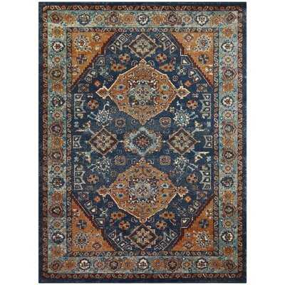 Issifu Oriental Orange/Blue Area Rug - Wayfair