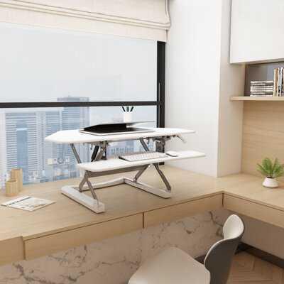Height-Adjustable Standing Desk Riser Standing Desk Converter White - Wayfair