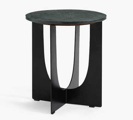 Geo Cut Round Marble Accent Table, Black - Pottery Barn