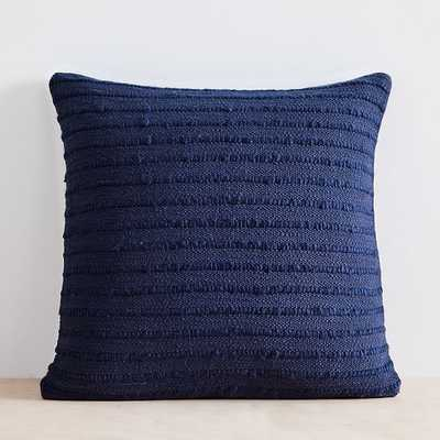 "Soft Corded Pillow Cover with Down Alternative Insert, Midnight, 20""x20"" - West Elm"