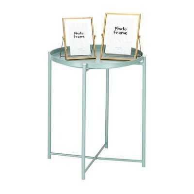 Foldable Metal Round End Table Black - Wayfair