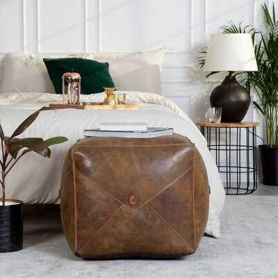 Grasser 20'' Genuine Leather Rectangle Pouf Ottoman - Wayfair