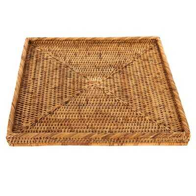 Square Tray Wicker/Rattan Basket - Wayfair