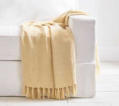 "Dayton Linen Throw, 50 x 60"", Yellow Gold - Pottery Barn"