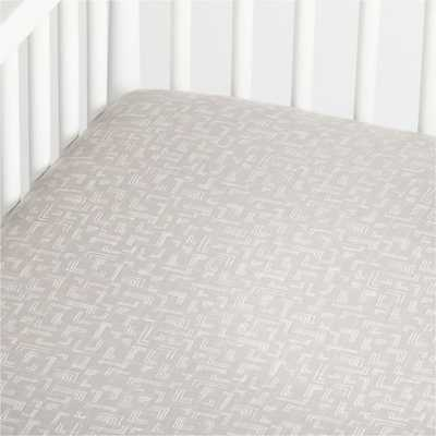 Organic Grey Muslin Crib Fitted Sheet - Crate and Barrel