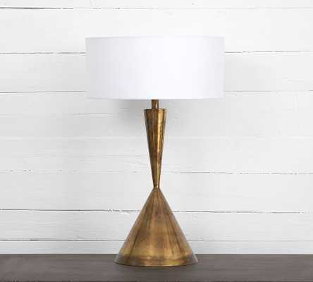Henderson Metal Table Lamp, Burnt Brass & White - Pottery Barn