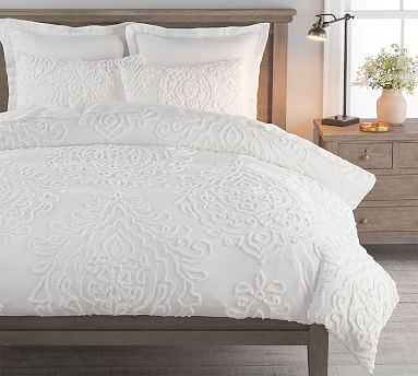 Renee Candlewick Sateen Duvet Cover, Full/Queen, White - Pottery Barn