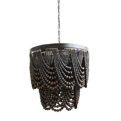 Black Metal Chandelier with Wood Beads - Nomad Home