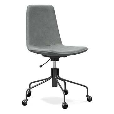 Slope Office Chair, Distressed Velvet, Mineral Gray - West Elm