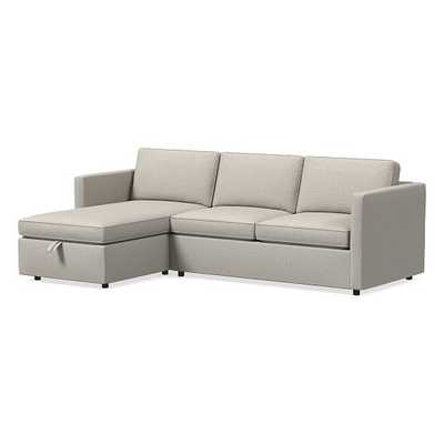Harris Set 43:Right Arm Pop-Up Sleeper,Left ArmPop-Up Storage Chaise, Poly, Twill, Stone, Concealed Supports - West Elm