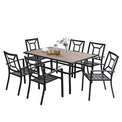 7pcs Patio Dining Set, Large Rectangular Wood Like Top Table With 6 Metal Chairs, Outdoor Furniture Set With Umbrella Hole For Poolside, Porch, Backyard - Wayfair