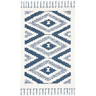 Southall Southwestern Handwoven Wool Ivory/Blue Area Rug - Wayfair