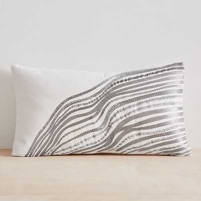 "Fluid Lines Pillow Cover, 12""x21"", Stone White - West Elm"