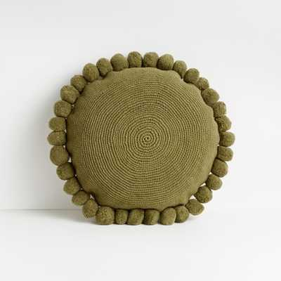 "Pico 18"" Olive Branch Round Pom Pom Pillow - Crate and Barrel"